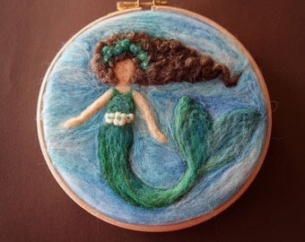 Needle Felted Mermaid - Waldorf Mermaid - Mermaid Wall Decor - Mermaid Nursery Decor - Mermaid Art - Hoop Art - Little Mermaid
