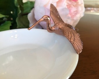 Bird Jewelry Holder, Gold Heron Ring Holder, Catch All, Jewelry Dish, Home Decor