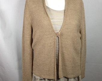 Tan cardigan sweater, bohemian sweater, spring sweater, lightweight sweater, size X L sweater,