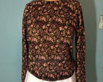 rose sweater, pink rose sweater, romantic sweater, ramie/rayon sweater