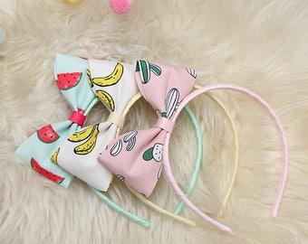 Big bow headband,3color,pastel color Headband,Furits Cactus Headband,Plastic headband,For baby girls kids, Gift,Hair Accessoies,ribbonnkids