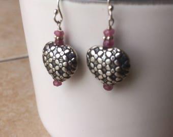 Bali puffed sterling silver Pink sapphire heart earrings
