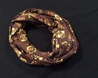 Clearance Dr. Who Infinity Scarf - 72 inch length, brown infinity scarf, ladies infinity scarf, clearance infinity scarf, teacher scarf