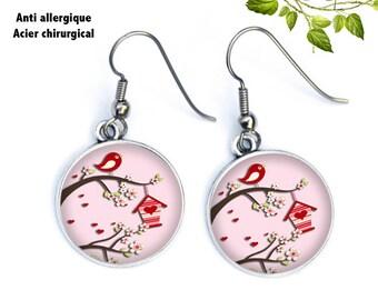 boucles d'oreilles roses oiseaux, moineaux sur branche, ref.392