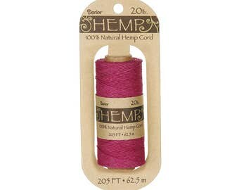 Hemp Cord Spool, Dark Pink, 20lb Weight, 205 feet (62.5m), 100% Natural