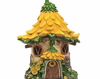 Yellow Flower Solar Fairy House, Fairy Cottage, Fairy Dwelling, Flower Roof Fairy House, Fairy Garden Accessory, Illuminated Fairy House