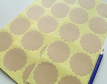 10 scalloped self-adhesive labels Kraft 5cm
