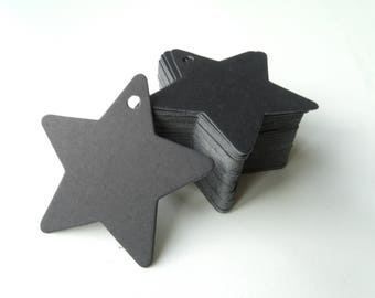 10 tags labels stars cardboard 6cm black