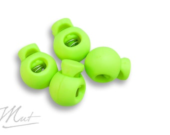 4 x cord stopper - round - lime