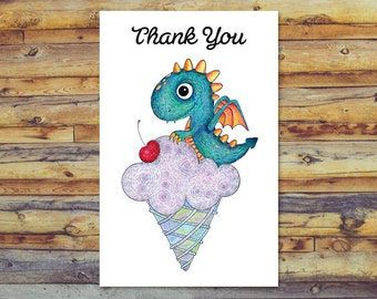 Printable Thank You Cards, Digital Download, Dragon Thank You Cards, Instant Download, Digital Card, Dragon Card, Dragon Art, Blank Cards