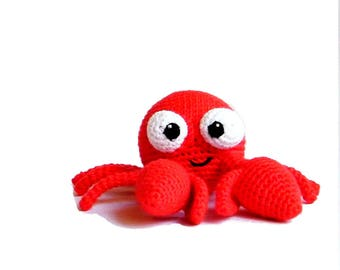 crochet crab, crab toy for babies, crab soft toy, crochet ocean animals, stress ball, sea life stuffed animals for toddlers, crab keychain,