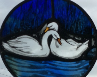 swan stained glass love marriage lovers birds water swans wedding present gift blue