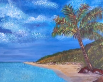 "Desert Island Beach - wall décor acrylic painting, 20""x24"" canvas stretched/wrapped on 5/8"" bars"