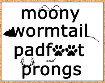 Moony Wormtail Padfoot and Prongs Hand Cut Silhouette Set from