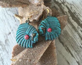 Antiqued Chief Head Earrings