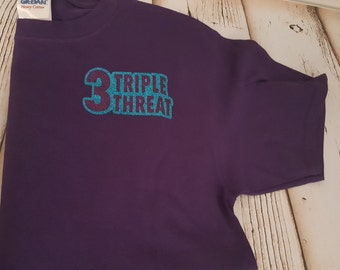 Triple Threat Cheer Shirt-full glitter cheer shirt glitter cheer shirt-cheer gifts