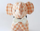 Elephant Doll- Orange Elephant- Elephant Toy- Baby Gift- White Bowtie- Baby Shower Gift- Nursery Decoration- Thailand Keepsake