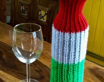 Italian flag knitted wine bottle cover