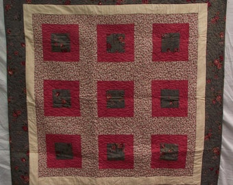 Handmade Quilt 120 cm x 120 cm made of 100% cotton fabrics