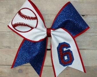Full glitter softball bow,  you pick colors,  big softball hairbow, custom softball bow