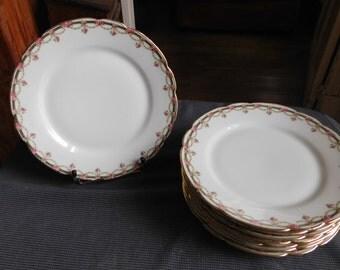 Suite of 8 porcelain decoration flower garlands dessert plates