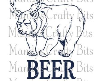 SVG Set of 3 Beer Bears with Antlers