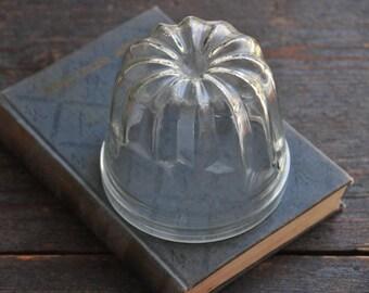 vintage glass pudding form bell jar, bohemian home decor,