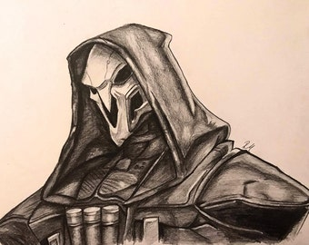 Reaper! From the game Overwatch. Print of pencil drawing.