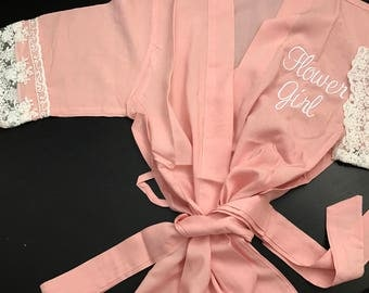 Flower girl robe , mommy and me , toddler robe , kid robes, robes for girls, getting ready robes, mini me