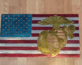 Marine Corps American Flag Metal Art