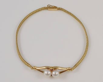 14k Yellow Gold Pearl And Ruby Bracelet(01045)