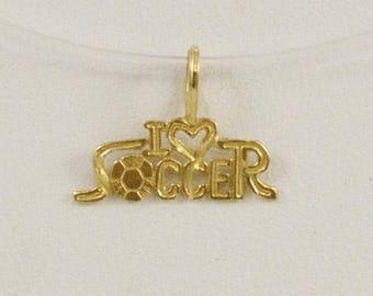 14k Yellow Gold I Love Soccer Charm/pendant(01128)