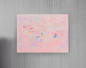 Familiarity: ORIGINAL Abstract Expressionism Painting on Canvas Panel, 16x12 inch Horizontal painting, Pink pastel Calming Light colors