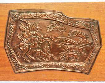 Vintage handmade embossed copper picture , Old picture, Old copper painting on a tree, Home decor, Wall decor, Wedding decor