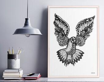 Intricate Illustrated Bird Print, Hand Drawn Zentangle