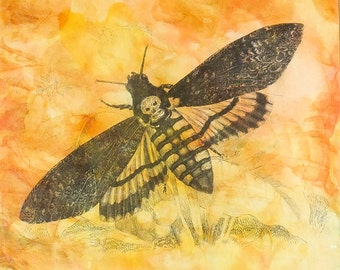 "Death's-head Hawkmoth Gel Transfer, Alcohol Ink, Mixed-Media on 8"" x 8"" Claybord Panel, Original Art, Gel Image Transfer, ©jcMitchelldesign"
