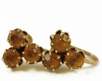 1950's 3 Stone Amber Rhinestone Screw Back Earrings