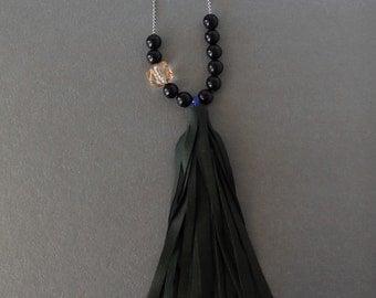Handmade Beaded Leather Tassel Necklace