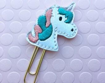 Planner Clip, Unicorn Planner Clip, Holographic Unicorn, Organizer Accessory, Notebook Accessory, Bookmark Feltie, Erin Condren