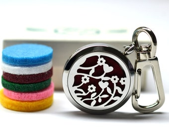 Garden Flower Stainless Steel Essential Oil Diffuser Keychain - With Choice of Essential Oil