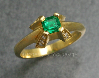 18k Gold, Brazilian Emerald and Diamond Ring