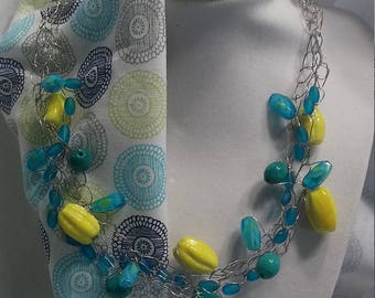 Handmade crochet wire necklace