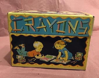 Vintage Crayons tin box. J.Chein and Co. Made in USA. 1960s. Used.