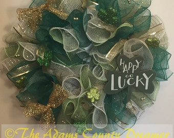 St Patrick's Day Green Lucky Deco Mesh Wreath