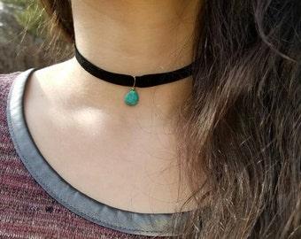 Magnesite Turquoise Velvet Choker
