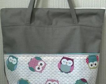 door canvas cotton shoulder bag zipper pocket on front owls pastel silver grey woman girl child shove everything