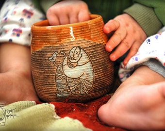 Ceramic mug with piper, 12 oz, Pottery mug, Unique mug, Orange cup, Gift Pottery teacup, mug with musician