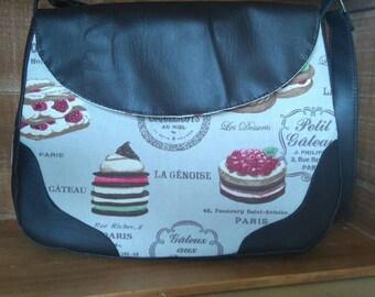 Cake theme fabric bag with vinyl shoulder bag