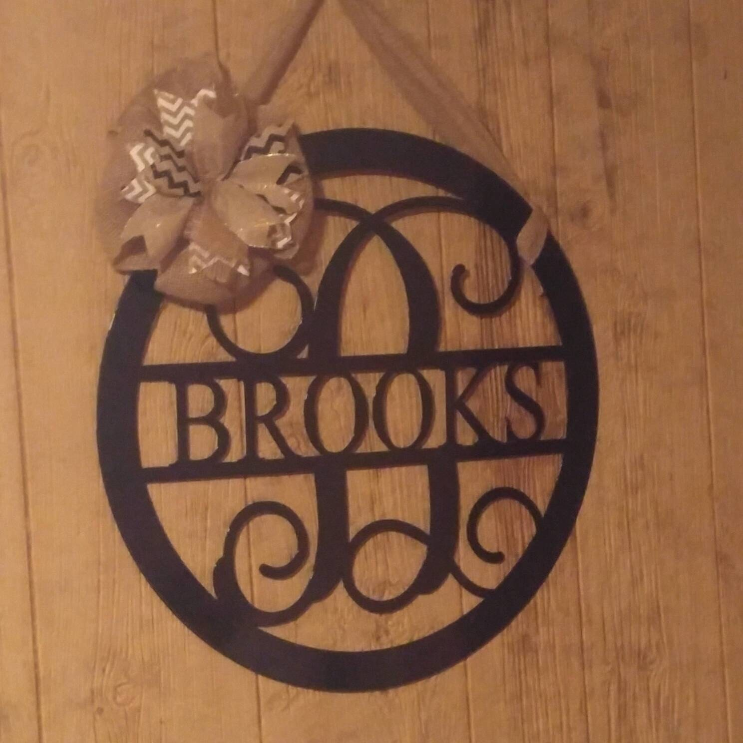 Monogram door hanger front door wreath metal monogram home for Monogram homes