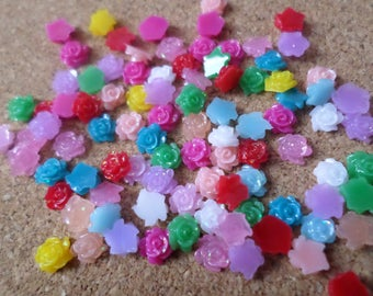 Resin flower cabochons, Cabochons, Flatback cabochons, Flatbacks, Resin flatbacks, Flower cabochons, Resin, Flower, 5mm, Multicolour